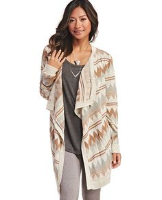 "<p>We are loving this pretty open cardi! With its soft pale colors, it lends itself to totally relaxed vibe. We imagine wearing it during a late autumn getaway somewhere in the mountains while sipping on our morning latte. It also features a lightweight knit body with a muted chevron print, an open cascade front, and ribbed trim.</p>  <p>Model is 5'9"" and wears a size small.</p>  <ul> 	<li>100% Acrylic</li> 	<li>Machine Wash</li> 	<li>USA</li> </ul>"