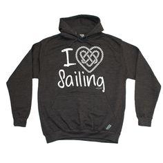 Ocean Bound I Love Sailing Knot Heart Design Sailing Hoodie
