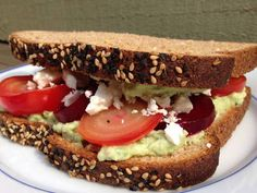 Sweet roasted beets, tangy mashed avocado and slightly salty feta cheese mingle on toasted whole grain bread for a delicious healthy sandwich. It's the perfect recipe for meatless Monday or any other day of the week.