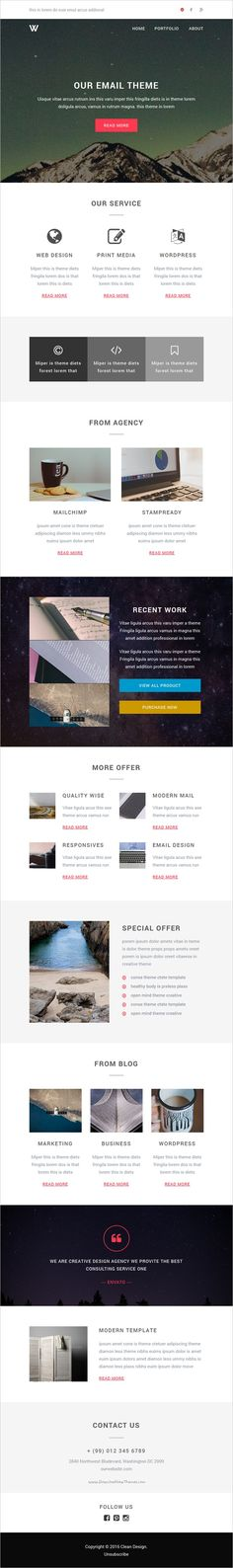 Astine u2013 Responsive Email + StampReady Builder \ Mailchimp Editor - email newsletter template