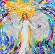 Original oil Angel painting Butterfly Kisses por Karensfineart, $245.00