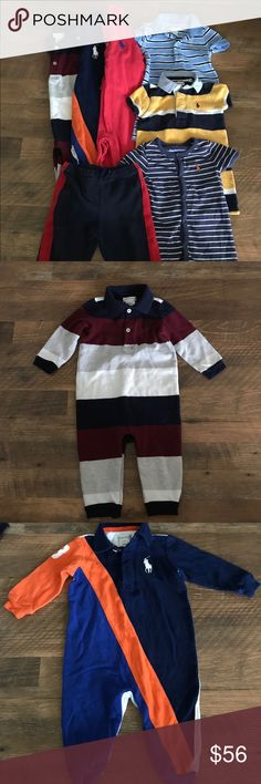 Ralph Lauren Baby Boy lot Ralph Lauren lot of 9 month boy clothes. All in great condition. 3 rompers, 3 longalls, 1 sweat pant. Ralph Lauren Other
