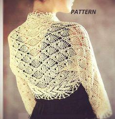 ETSY $2.66 PATTERN collar crochet necklace  shirt  bolero romantic shrug longsleeves