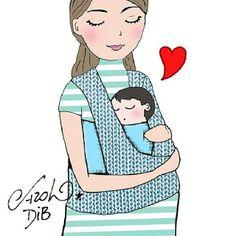 Dia das mães!!! Amor ilustrado por Carol Dib ♥ Illustration for mother's day, by Carol Dib.