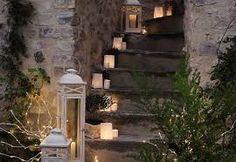 escaleras con velas