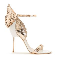 Stunning white leather sandal finished with rose gold straps and laser cut Angel Wing detail.