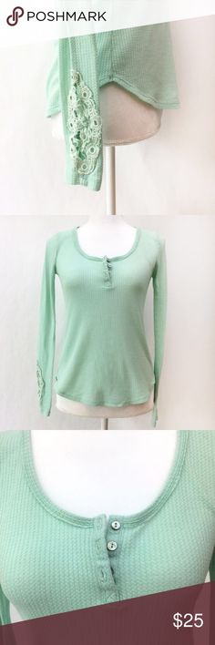 Anthropologie by Eloise Waffle Scoop Neck Top Anthropologie by Eloise waffle scoop neck henley top features three buttons at neckline and crochet feature on sleeve. Lovely mint color makes for a unique twist on a wardrobe staple. EUC. Anthropologie Tops