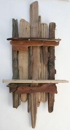 Driftwood candle shelf wall sconce wall art driftwood for Driftwood wall shelves
