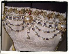 White Pearl and Lilac Gold Bodice Jewelry Tudor Costume Pearls. $32.00, via Etsy.