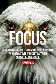 Focus ~ When you well be able to concentrate on one goal and do whatever it takes to attain it ...You will be successful