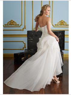 Asymmetrical A-line Scallop Organza Wedding Dress