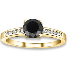1.10 ctw 14k YG AA Black, Accent G-H Color, I1 Clarity Diamonds Engagement Ring