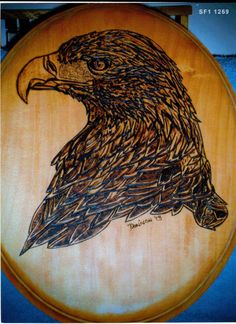 Beautifully Handcrafted Eagle Maple Wood Burned Pyrography Wallhanging Plaque by The Bohemian Atelier.