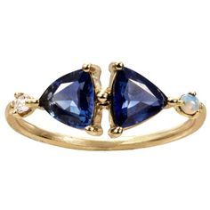 WWAKE Mirrored Sapphire Ring (266.295 RUB) ❤ liked on Polyvore featuring jewelry, rings, sapphire jewelry, mirror ring, 14k gold band ring, hand crafted jewelry and 14 karat gold jewelry