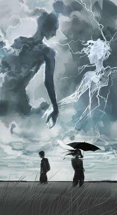 """When thunder and lightning hold hands"" Makayana Dark Fantasy Art, Fantasy Artwork, Dark Art, Arte Assassins Creed, Arte Obscura, Wow Art, Fantasy Inspiration, Fantasy Landscape, Pretty Art"