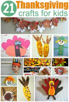 Homemade & easy Thanksgiving Crafts For Kids - so many cute ideas for toddlers and kids .