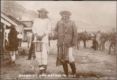 Chief Naiche and Chief Geronimo (l. to r.) in captivity at Fort Bowie, Sept. 7, 1886. Picture taken by Frank Randall.