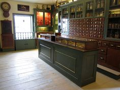 Interior of the Apothecary Shop located at the Shelburne Museum in Shelburne, Vermont. Left side of building interior.