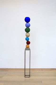 ANNIE MORRIS Stack 7 (Ultramarine Blue), 2015 Polystyrene, sand, raw pigment, steel and concrete base 40 in:
