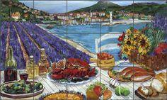 Provence Picnic by Carol Walker - Mediterranean Landscape Ceramic Tile Mural Backsplash - POV-CWA003