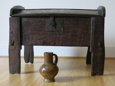Antique Coffers, An Incredibly Small English Oak Ark Coming Soon! Wood Furniture, Antique Furniture, Furniture Fittings, Medieval Furniture, Coffer, Antique Boxes, Camping Equipment, Casket, Pilgrim