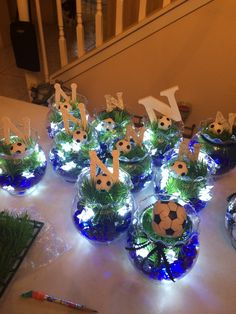 Soccer banquet centerpieces with battery lights. Sports Banquet Centerpieces, Banquet Decorations, Birthday Party Centerpieces, Baby Shower Decorations For Boys, Tea Party Birthday, Banquet Ideas, Volleyball Decorations, Soccer Decor, Soccer Theme
