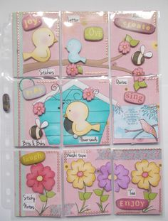 Pocket Letters ❤ Birds & Flowers (paper from Primsy Doodles on Etsy) Pocket Pal, Pocket Cards, Scrapbook Paper Flowers, Shadow Box Memory, Atc Cards, Pocket Scrapbooking, Pocket Letters, Artist Trading Cards, Scrapbook Supplies