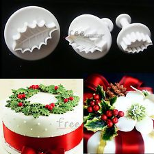 3pcs Christmas holly leaves plunger Cutter Fondant Cake Cupcake decorating tools