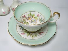 TEA Cup & Saucer, E.B. Foley Bone China  ENGLAND Mint Green, Signed by A. Taylor via Etsy