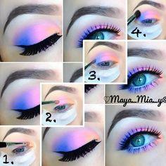 inspired eyeshadow tutorial (Maya_Mia_Y via I Love Cute Shoes) Mais Makeup Eye Looks, Purple Eye Makeup, Colorful Eye Makeup, Cute Makeup, Pretty Makeup, Makeup Inspo, Makeup Art, Makeup Inspiration, Beauty Makeup