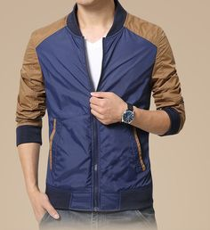 Men's casual long sleeve zip style mixed color, front side insert pockets, Zip fastenings on the front, Rib bottom. Bomber Jacket Men, Leather Jacket, Revival Clothing, Big Men Fashion, Jackets Online, Men's Jackets, Cotton Jacket, What To Wear, Men Casual