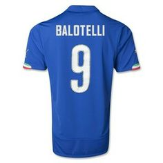 Mario Balotelli Italy 2014 FIFA World Cup Home Jersey, comes ready printed, official printing available at Soccer Box for some soccer jerseys. http://www.soccerbox.com/90107 #E3