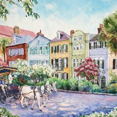 charleston-rainbow-row-horse-carriage - The Glam Pad Rainbow Row Charleston, Charleston Sc, South Carolina Art, Mario Buatta, Fine Art Prints, Canvas Prints, Canvas Art, English Country Style, Thing 1