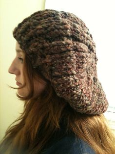Really slouchy hat knit from my handspun pine and berries yarn.