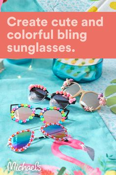 "Make these cute Blinged Sunglasses to give as party favors at your next summer party or even set up a ""blinged your own sunglasses"" station! Diy Crafts For Kids Easy, Crafts For Teens, Crafts To Do, Projects For Kids, Summer Camp Crafts, Camping Crafts, Babysitting Activities, Summer Activities, 6th Birthday Parties"