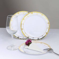 "10 Pack | 10"" White Disposable Plates Round Dinner Plates with Gold Ornate Lace Rim Gold Wedding Theme, Gold Wedding Decorations, Extravagant Wedding Decor, Gold Napkin Rings, Gold Table Runners, Disposable Plastic Plates, Gold Candle Holders, Fun Summer Activities"