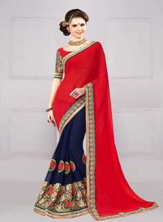 DESIGNER RED AND BLUE SEQUENCE AND HAND WORK GEORGETTE SAREE
