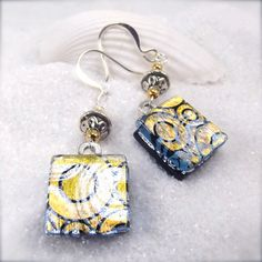 Dichroic earrings fused glass jewelry glass by HanaSakuraDesigns