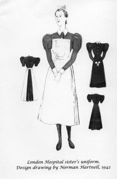 """Royal London Hospital League of Nurses -""""Notelets"""" (note cards) designed with three different uniform drawings by designer Norman Hartnell, 1942. This one shows the The Royal London Hospital Sister's uniform, with full front view, smaller back view of the complete uniform dress and apron, and small front and back views of just the dress alone."""