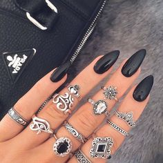nails, black, and rings #black #rings #beauty