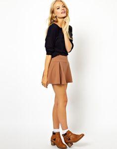 $53, Tan Skater Skirt: Asos Box Pleat Mini Skater Skirt Mink. Sold by Asos. Click for more info: https://lookastic.com/women/shop_items/35219/redirect