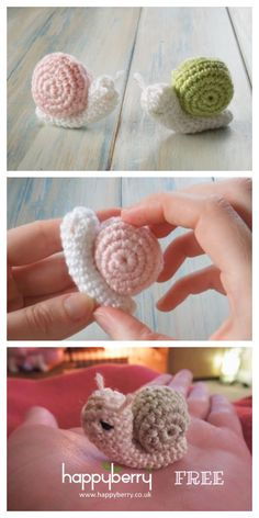 Amigurumi Snail Crochet Free Patterns: Roll Up snails, heart snails, mini snails, video tutorial Crochet Snail, Crochet Animals, Free Crochet, Knit Crochet, Crochet Toys Patterns, Stuffed Toys Patterns, Butterfly Dragon, Monarch Butterfly, Crochet Necklace Pattern