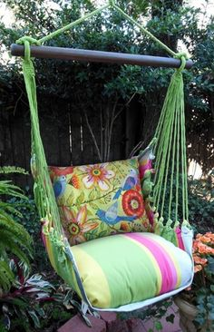 Fresh Lime Colorful Garden Hammock Chair Swing Set only $139.99 at Garden Fun - Flower Hammock Chairs