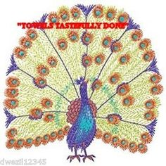 PRETTY AS A PEACOCK - 2 EMBROIDERED HAND TOWELS by Susan