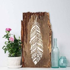 Tribal Feather Wall Art Stencil - Reusable Stencils - DIY Home Decor - Easy DIY ♡ Try the stencils instead of expensive wallpaper! Advanced Stencils offers the best stencils for DIY decoration - stencils skillfully crafted by profes. Feather Stencil, Stencil Wall Art, Feather Wall Art, Tribal Feather, Stencil Diy, Wood Feather, Feather Painting, Feather Signs, Rustic Painting