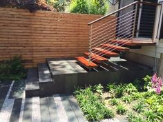 Thank you so much for posting this image of the modern patio with the stairs leading to it from the home. One thing that I think that my wife and I love about this is how contemporary it looks with the little garden right next to it. I can completely see us eating some fancy food at a nice little black square table in the summertime. Thanks for posting!