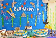 Usando a Cachola: Aniversário Fundo do Mar 1st Boy Birthday, Birthday Parties, Birthday Cake, Whale Party, Jonah And The Whale, Under The Sea Theme, Baby Shark, First Birthdays, Party Supplies