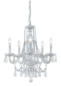 Crystorama All White glass arm Chandelier 6 Lights - Wet White - 1076-WW-WH-MWP