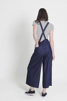 Wide Leg Bib-Overalls for Women with adjustable straps. Check our summer fashion dungarees range Ladies Dungarees, Salopette Jeans, Bib Overalls, Clothing Company, Wide Leg, Legs, Cotton, Pants