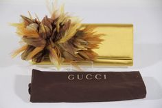 2f8770332d2f Authentic GUCCI Italian Yellow Satin clutch Handbag evening bag Feather  Appliqued AS Gucci Clutch